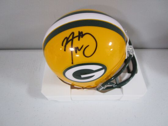 Aaron Rodgers of the Green Bay Packers signed autographed mini football helmet PAAS COA 841