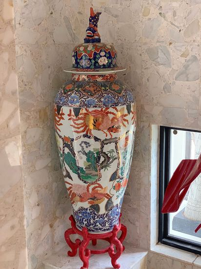 Large Oriental Vase with wooden base