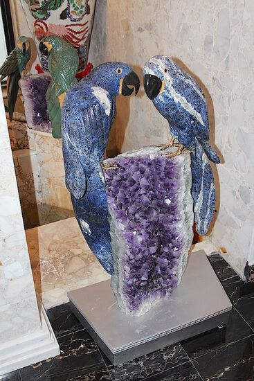 Large Pair of Lapis Parrots on Amazing Amethyst Base