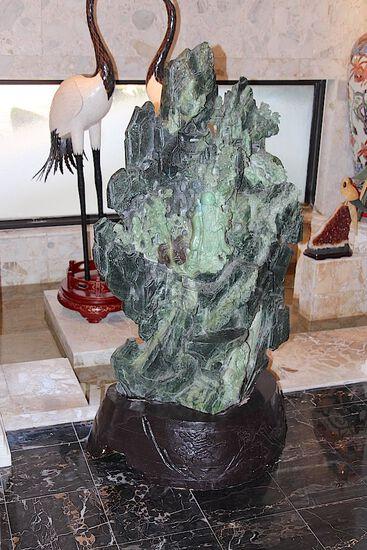 Stunning Stone Hand Carved Jadeite Sculpture - Chinese Buddha