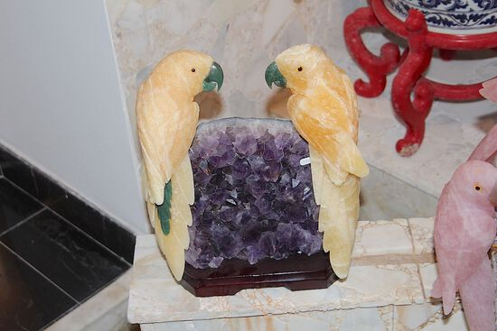 2 Yellow Parrots on Amethyst Base