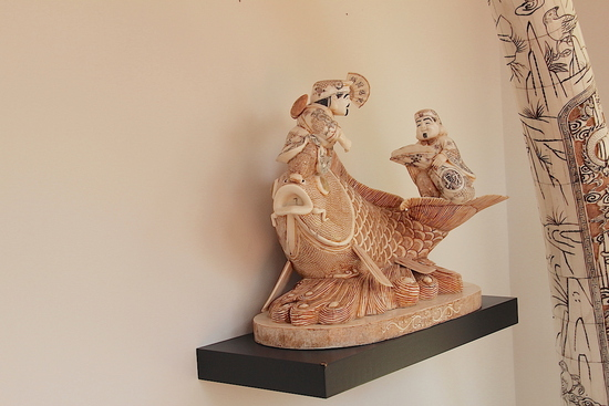 Hand Carved -Bone Sculpture - Coy Fish