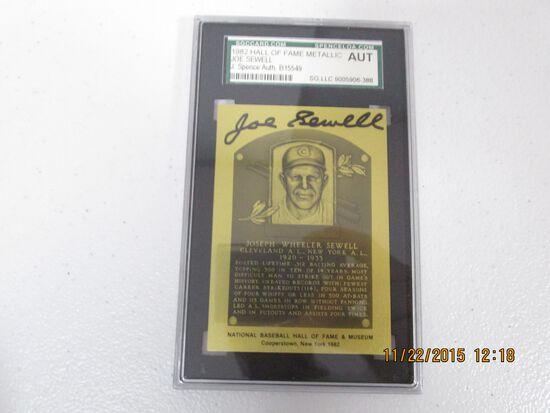 Joe Sewell 1982 Baseball Hall of Fame Metallic Plaque Card SGC Authentic slabbed