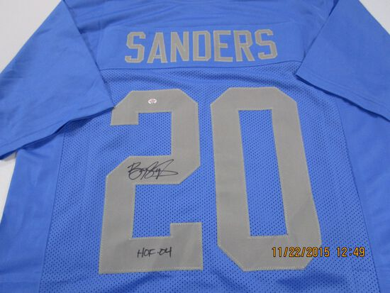 Barry Sanders of the Detroit Lions signed autographed football jersey PAAS COA 168