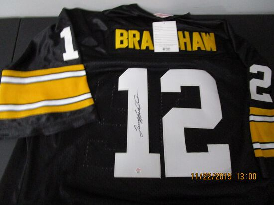 Terry Bradshaw of the Pittsburgh Steelers signed autographed football jersey PAAS COA 598
