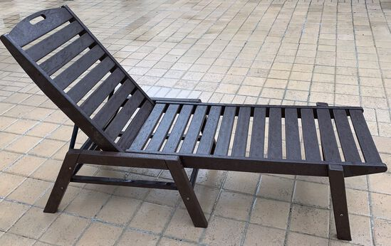 (2) Reclining/Adjustable Wood Lounge Chaises