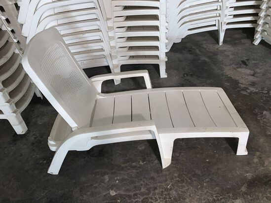 (2) White, Stackable, Adjustable Reclining Lounge Chaises