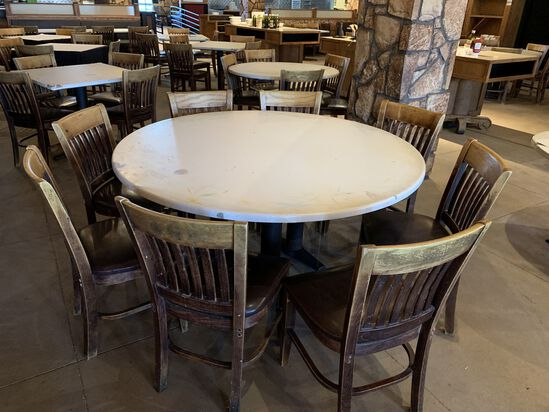 (2) Large 8 Seater Round Top Tables