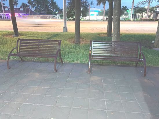 (2) Outdoor Metal Benches