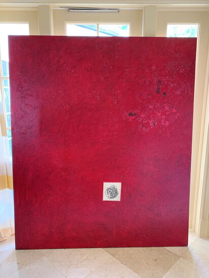 """Red Painting of Small Rose"", By Michael Brangoico, 68"" X 80"""