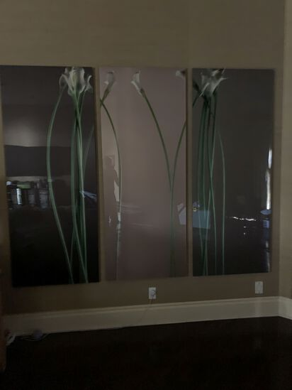 4 Tulips, Oil on Acrylic, Triptych by Bill Beckly