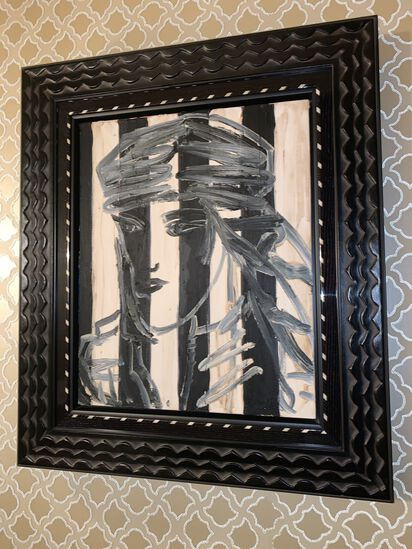 "black and White Lady by Hunt Stomen Valentino, 28"" X 24"""