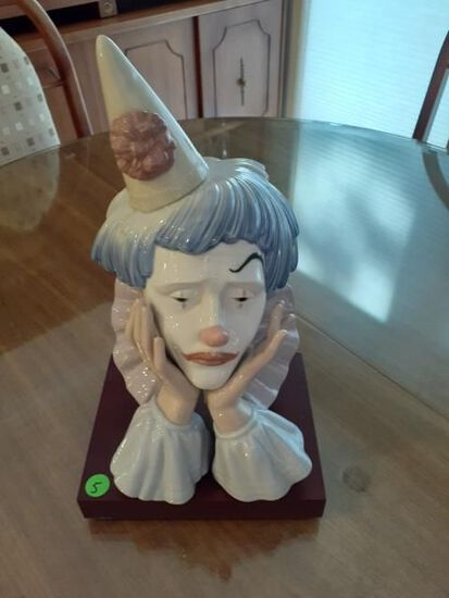 Lladro Clown Bust with rosewood base