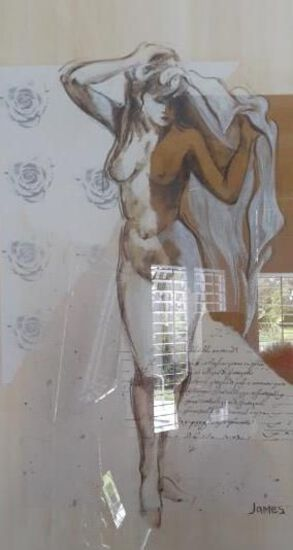 Nude Woman standing - Framed artwork by James - 36 x 42 inches
