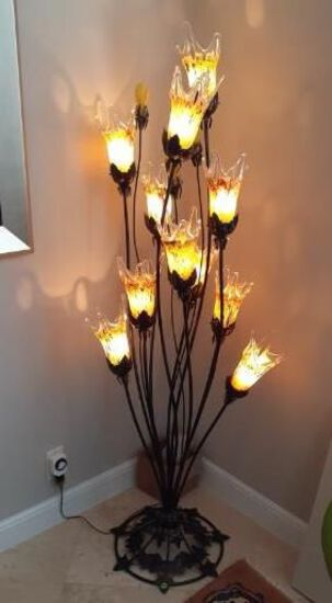 Metal and hand blown glass floor lamp - 11 lights - 63 inches high