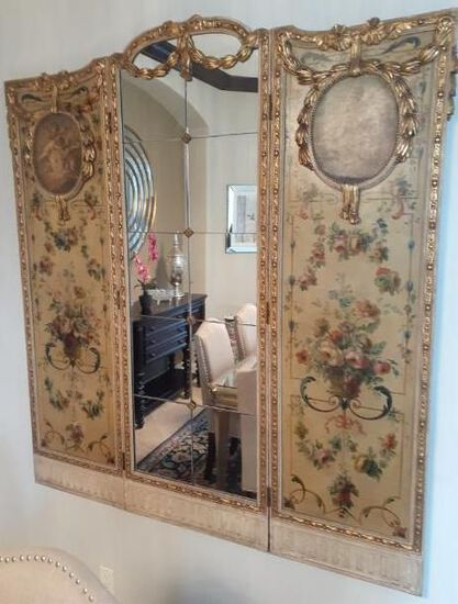 Antique 3 Panal Divider with Mirror - early 1900s - Hand Painted