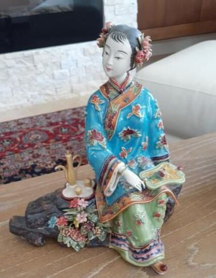 Oriental Woman sitting down -8 inches tall