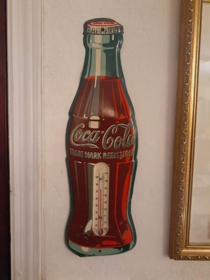 Coke Cola Bottle Thermometer  - metal Sign - Approx 16 inches