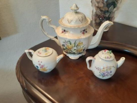 Lot of Three Porcelain and Ceramic Teapots