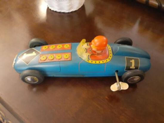 Wind-up Race Car Toy - Vintage - Working- 9.5 inches long