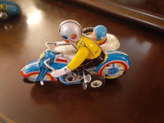 Wind-up motorcycle with side car - working- 7 inches long