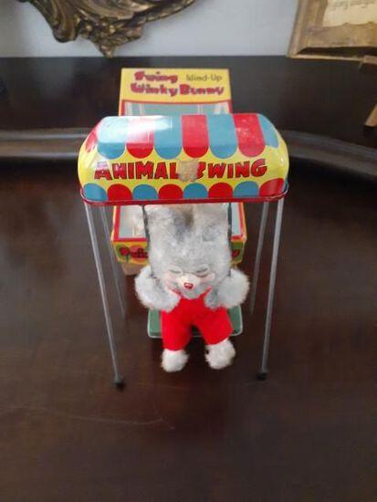 Swing Wind-up Winky Bunny with Original Box