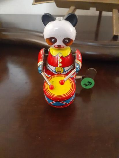 Drumming Panda - Wind-up Toy - Working - 4 inches high