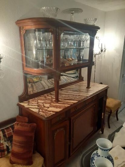 China Cabinet with marble top - Antique - good condition