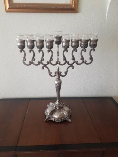 Menorah with glass candleholders - 22 high x 19 inches wide