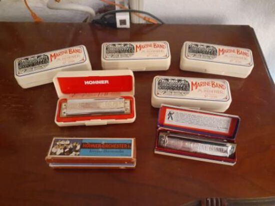 Set of 7 Harmonicas - Hohner - Marine Band No.1896 with Cases