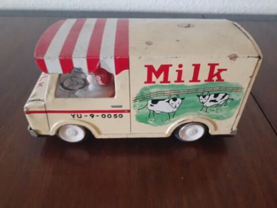 Milk Delivery Truck - Vintage Toy - Driver with moving head - 4 x 7 inches