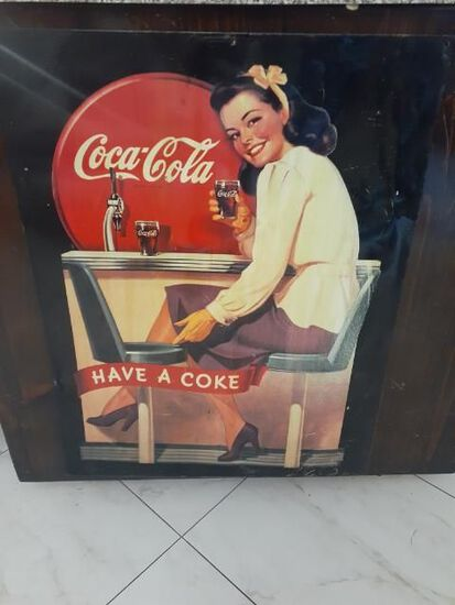 Coke Cola Advertising  metal Sign - Vintage- Approx 22 x28 inches