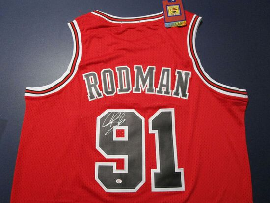 Dennis Rodman of the Chicago Bulls signed autographed basketball jersey PAAS COA 623