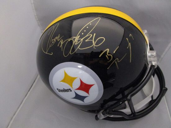Ben Roethlisberger Jerome Bettis Hines Ward of the Steelers signed fs helmet PAAS LOA 082