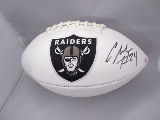 Charles Woodson of the Oakland Raiders signed autographed logo football PAAS COA 039