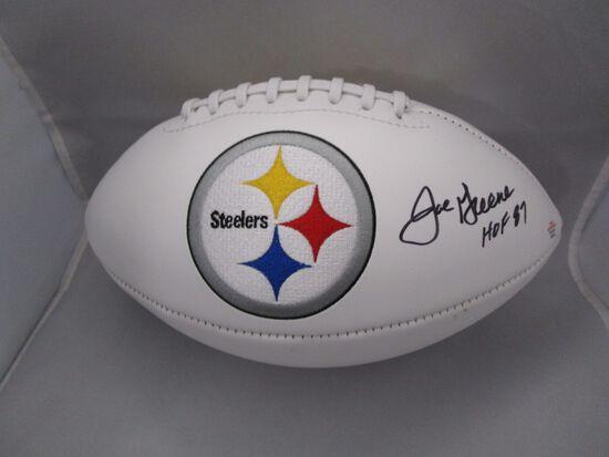 Joe Greene of the Pittsburgh Steelers signed autographed logo football PAAS COA 143