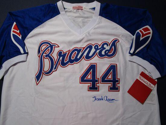 Hank Aaron of the Atlanta Braves signed autographed baseball jersey Steiner COA