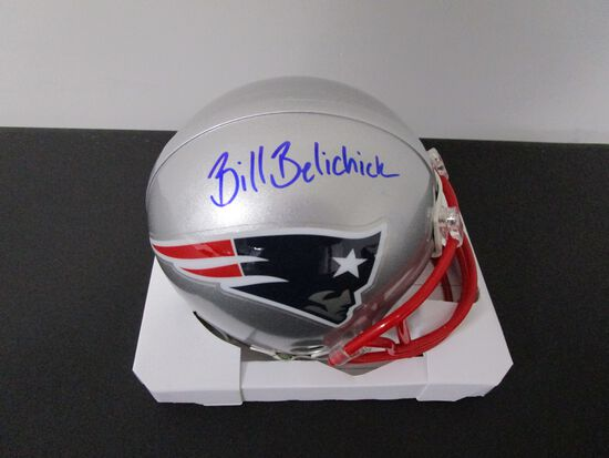 Bill Belichick of the New England Patriots signed autographed mini football helmet PAAS COA 043