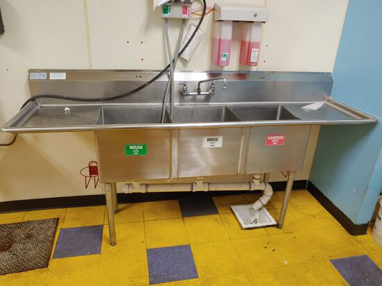 """Select Stainless 90"""" aprox Three Compartment Kitchen Sink"""