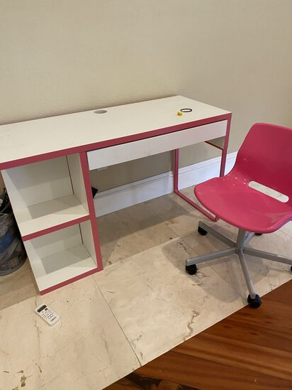 Desk with Pink Chair