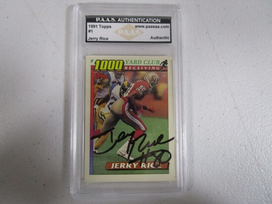 Jerry Rice San Francisco 49ers signed autographed 1991 Topps 1000 Yard Club #1 PAAS Authentic
