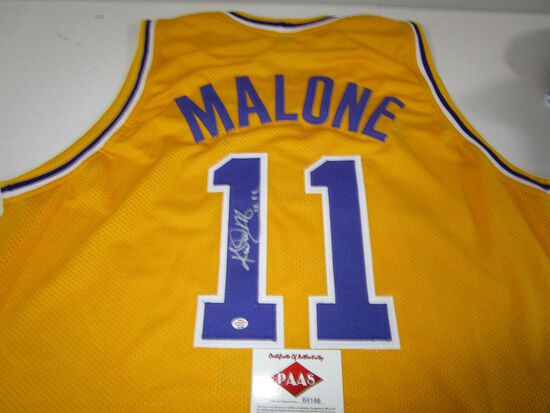 Karl Malone of the LA Lakers signed autographed basketball jersey PAAS COA 146