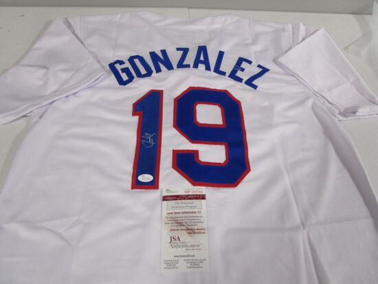 Juan Gonzalez of the Texas Rangers signed autographed baseball jersey JSA COA 790