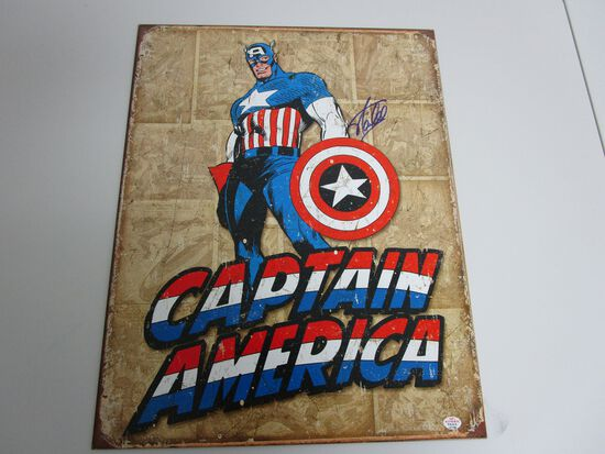 Stan Lee Captain America signed autographed 12.5x16 metal sign PAAS COA 799