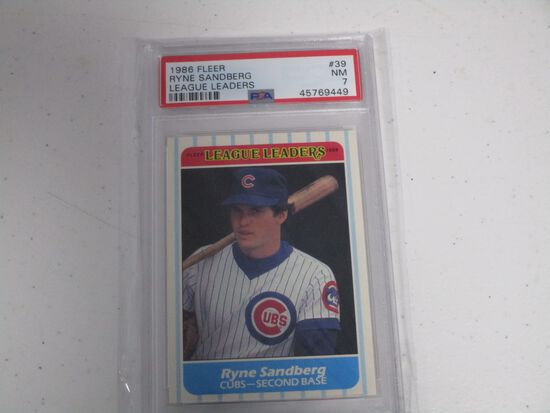 Ryne Sandberg Chicago Cubs 1986 Fleer League Leaders #39 graded PSA NM 7