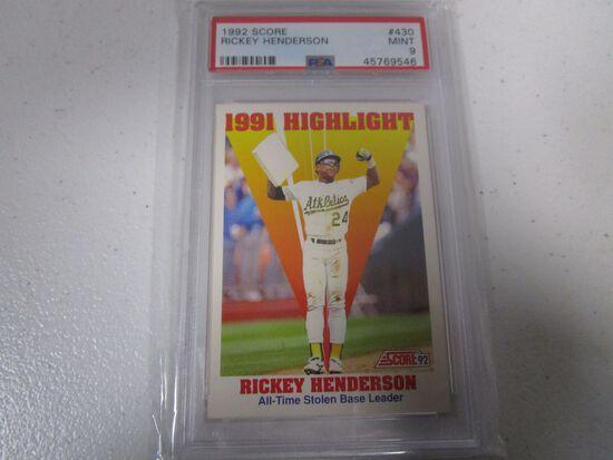Rickey Henderson Oakland A's 1992 Score 1991 Highlight #430 graded PSA Mint 9