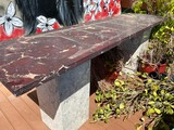 9ft Granite top Table with Marble Bases.