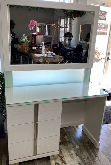 "45"" three Draw Salon Work Station with 45"" x 30"" Mirror attached"