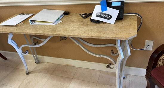 Wrought Iron Base with Marble top Console Table
