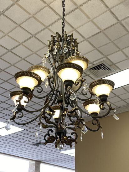 """Large Decorative Metal and Crystal Droplet (9) Candle Chandelier. The Chandelier has a 48"""" Drop"""